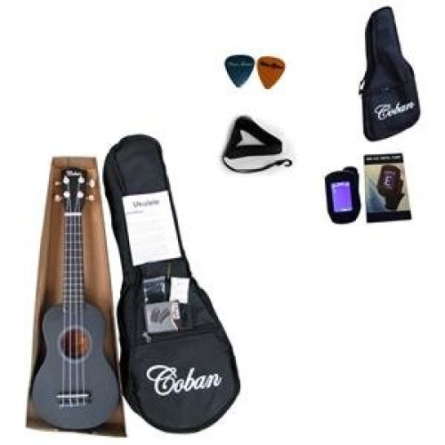Coban Matt Black Ukulele Complete package reduced price cause slight paint marks