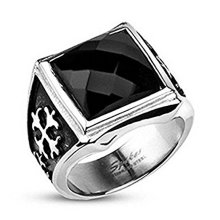 Black Square Onyx Crystal Royal Cross Stainless Steel Wide Case 17mm Width Cast Ring