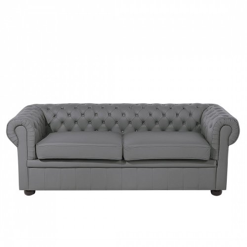 2 Seater Grey Leather Sofa CHESTERFIELD