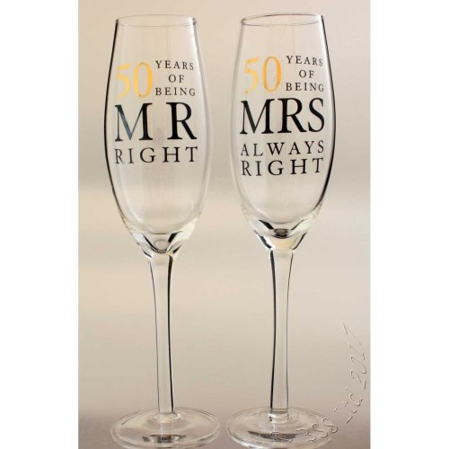 50th Wedding Anniversary Mr & Mrs Right Champagne Glasses Gift Set WG80650