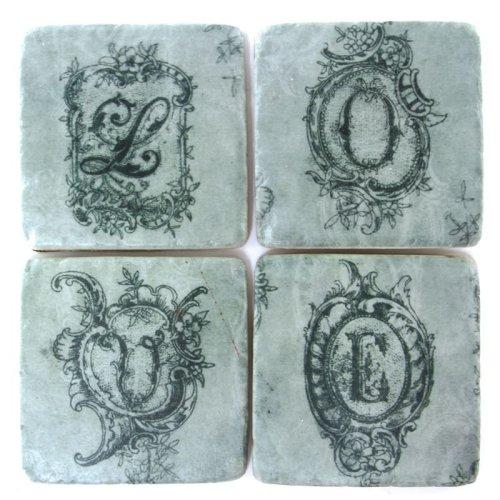Ceramic Coasters Vintage LOVE Letter Designs