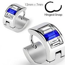 Blue and Clear Crystal Lined Stainless Steel Hinged Snap Close Huggy Hooped Earrings 0.8mm Thickness