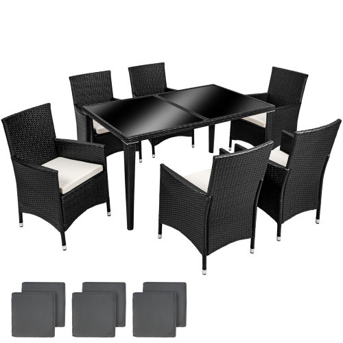 c44aad99a4db Rattan chair set 6+1 aluminium anthracite on OnBuy