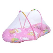 Foldable  Insect Netting Cribs Mosquito Net with Sleeping Pad-Pink