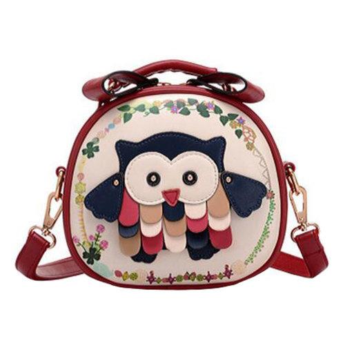 Girls Elegant Single Shoulder Strap  Bag  Fashion Purse  Cute Owl Round Shoulder Bag