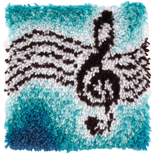 "Caron Wonderart Latch Hook Kit 12""X12""-Treble Clef"