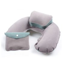 Beige & Green Soft Blow-up Travel Pillow | Inflatable Headrest