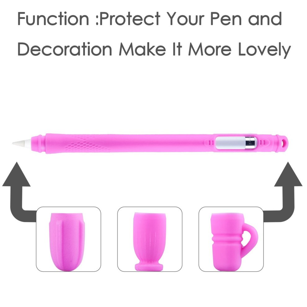 Red ColorCoral Silicone Sleeve for Apple Pencil Protective Accessories 5 in 1 Cartoon Caps Compatible with New iPad 9.7 10.5 12.9