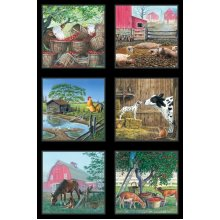 Farm Life Sewing Cotton Quilting Fabric Panels or Wall Hanging Farm Images