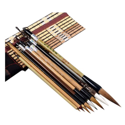 8 PCS Chinese Calligraphy / Kanji Brush Set (Goat Hair, Jian Hair, Wolf Hair)