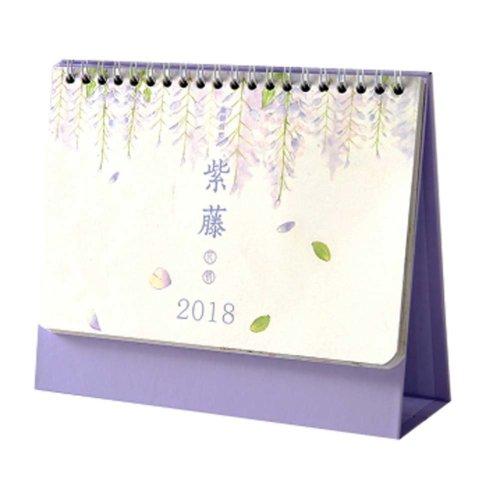 2017-2018 Academic Year Desk Calendar, Pad Calendar, 7.1 x 6 Inches, Purple