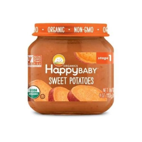 Happy Baby 318851 Stage 1 Sweet Potato Clearly Crafted Baby Food in Jar, 4 oz - Pack of 12