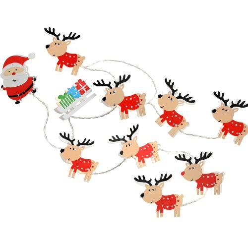 WeRChristmas LED Santa Sleigh and Reindeer Wooden Light String - Multi-Colour, Set of 11