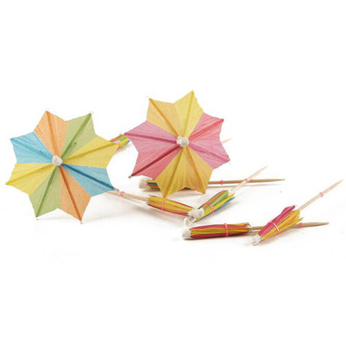 Umbrella Parasol Cocktail Picks Cupcake Toppers - Assorted Colors 160 Packs