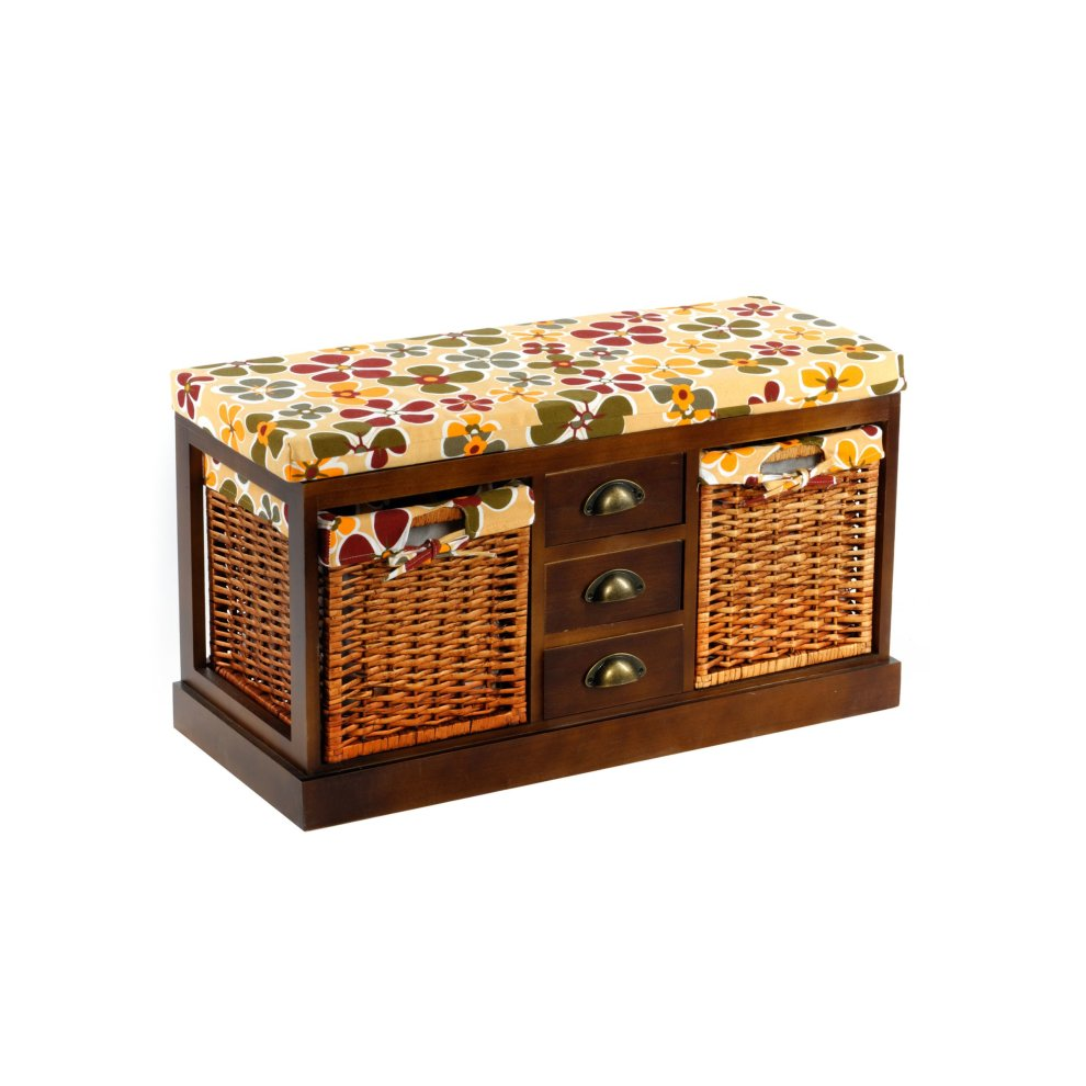 Outstanding Taiga Wooden Storage Bench Seat 2 Wicker Baskets 3 Drawers Onthecornerstone Fun Painted Chair Ideas Images Onthecornerstoneorg