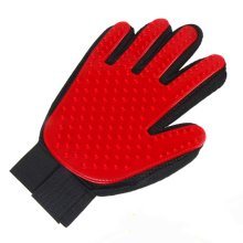 Pet Hair Remover Glove Gentle Dog Brush Glove Red