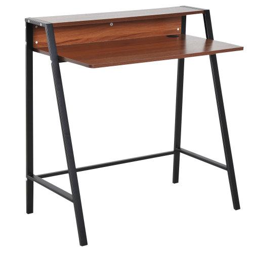 HOMCOM Wooden Writing Desk Computer Table Home Office PC Laptop Workstation Storage Shelf Antique Walnut