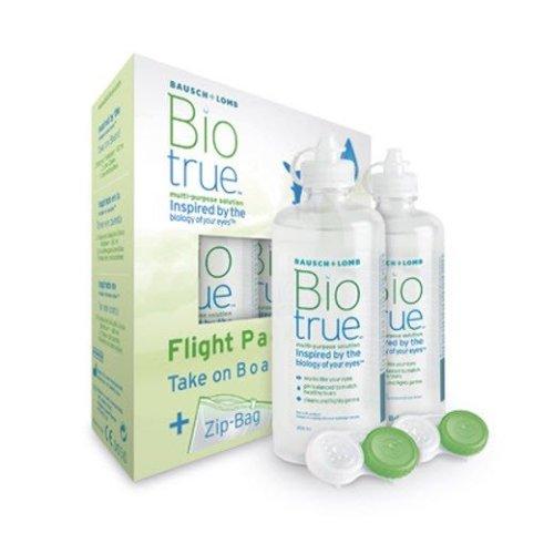 Biotrue Multi Purpose Contact Lens Solution 2 X 60ml Flight Pack 2 Cases Zip Bag