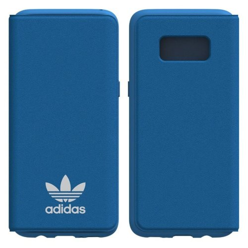 Genuine Adidas Originals TPU Flip Booklet Case Cover with Card Holder for Samsung Galaxy S8 - Bluebird / White