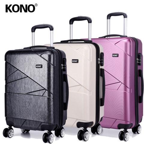 KONO Suitcase Luggage Travel Trolley Case Bag Hard Shell PC 4 Wheels Spinner 24 Inch Geometric Shape