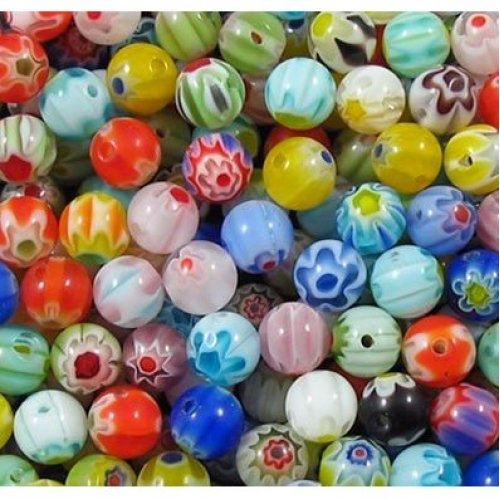 k2-accessories 100 pieces 6mm Millefiori Glass Round Beads - Mixed - B0010