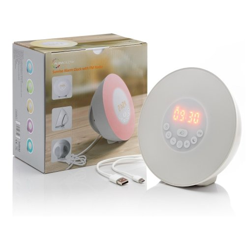 Auraglow Colour Changing LED Sunrise Simulation Wake Up Alarm Clock with Nature Sounds & FM Radio