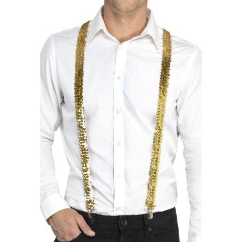 Gold Sequin Costume Braces. - Adults Braces Fancy Dress Accessory Unisex -  adults sequin braces fancy dress costume accessory unisex suspenders