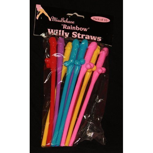 Rainbow Willy Straws Hen Party Accessories Hen Night By Alandra Miss Behave - -  hen straws party willy coloured night rainbow x choose qty nude