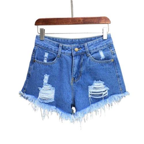 Simple Design High Waist Jeans Shorts Denim Shorts for Women, C