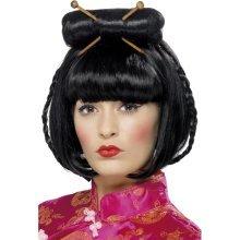 Black Oriental Lady's Wig With Chopsticks