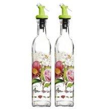 2PCS Flower Vinegar Bottle Oil Jar Glass Bottle Oil Dispenser, NO.17