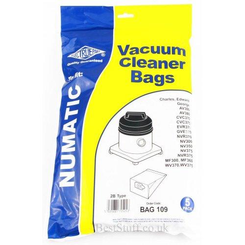 Electruepart BAG 109 pack of 5 Bags for Numatic Cylinder Vacuums