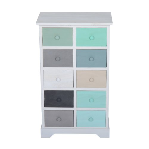 Homcom Wooden Storage Cabinet - 10 Multicolour Drawers