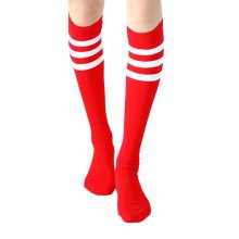 2 Pairs Soccer Socks Color Stripes Red