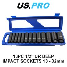 US PRO 13pc 1/2 Dr 12pt Deep Impact Sockets Metric 13 - 32mm 1683