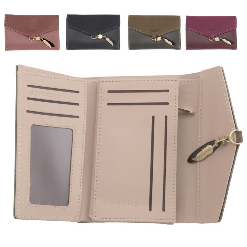 Ladies RFID Blocking Faux Leather and Suede Purse with Zipped Coin Compartment