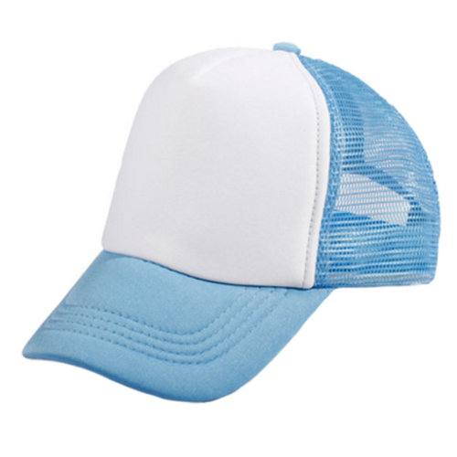 Kids Baseball Cap Mesh Hat Fitted Caps Outdoor Sports, Light Blue & White
