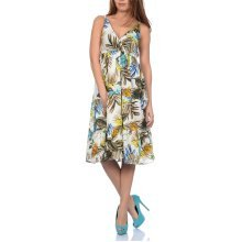 Pistachio, Ladies Cross Front Floral Summer Holiday Dress, Green and Blue, Small (UK 8-10)