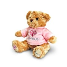 20cm Pink I Love London Teddy Bear Soft Toy - Childrens Souvenir Keel Toys -  teddy 20cm pink love london bear soft toy childrens souvenir keel toys