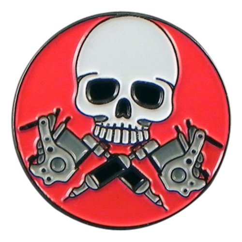 Skull & Tattoo Gun Enamel Pin Badge