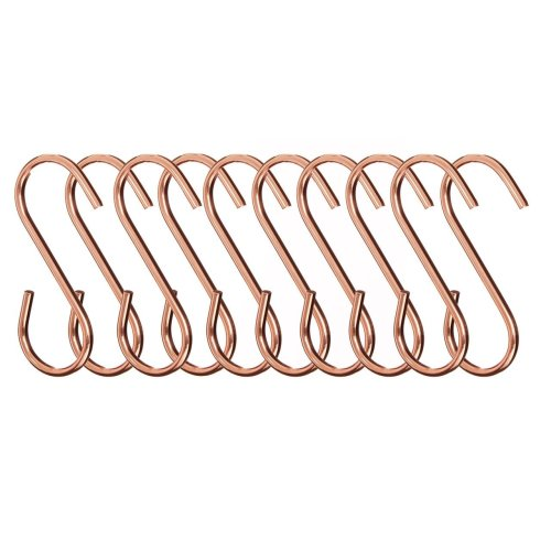 Set of 10 Sorello Hanging Hooks, Iron, Rose Gold