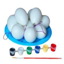 Ten White Easter Eggs/Plastic/Painting/Children DIY Eggs-a