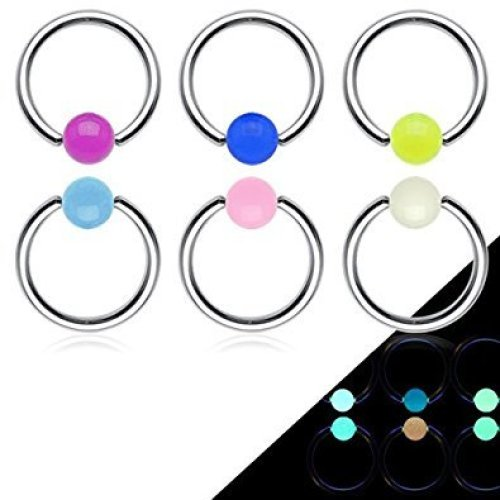 Glow In The Dark Captive Bead Ring CBR Universal Piercing Body Jewellery