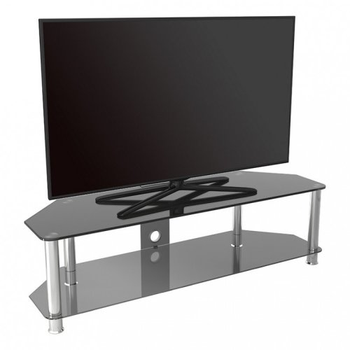 King Glass TV Stand 140cm, Chrome Legs, Black Glass, Cable Management, for TVs up to 65""