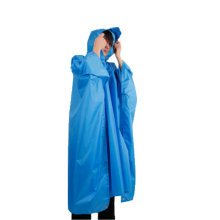 One-piece Raincoat Poncho Rain Cape Outdoor Hiking Camping (Blue)