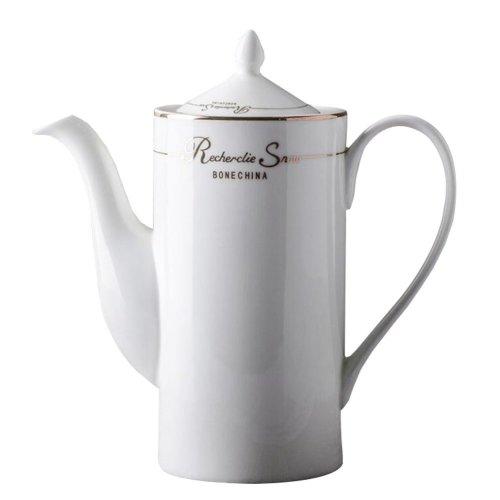 Decorative White Ceramic Teapot