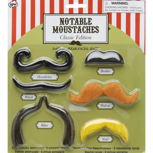 NPW Fake Stick On Moustache Set - Fancy Dress Notable Moustaches