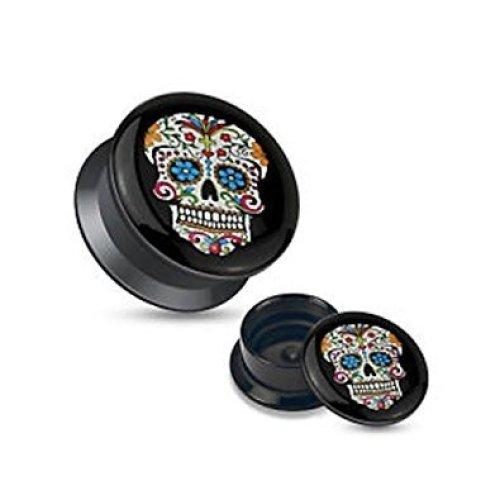 Blue Sugar Skull Black Acrylic Stash Pot Flesh Tunnel Ear Saddle Plug