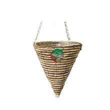 1 X Kingfisher 30 cm Rope Cone Garden Plant Lined Basket 40 cm Hanging Chain
