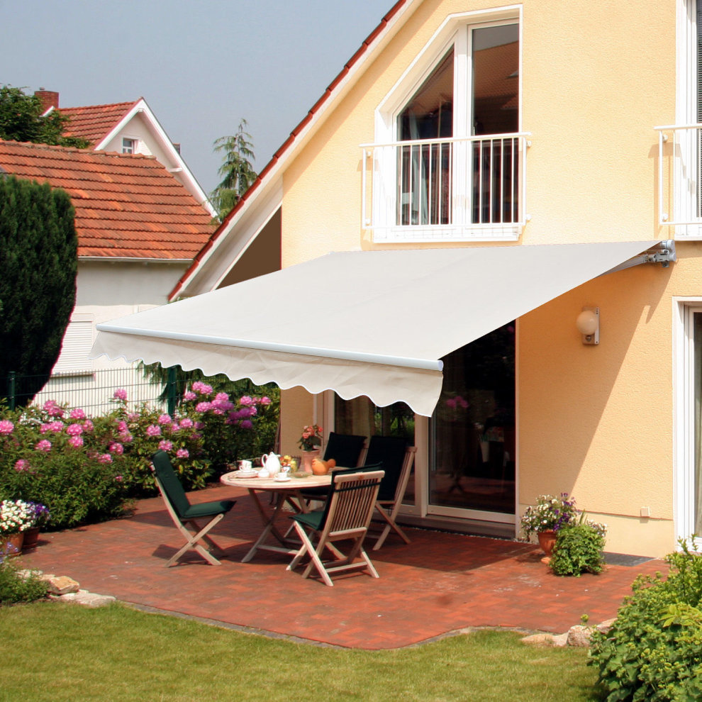 Outsunny 2.5 x 2m Patio Door Awning Manual Retractable ...